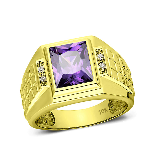 Solid 10K Gold Purple Amethyst Mens Ring 4 Natural Diamonds Fine Ring for Man