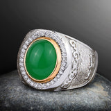 Men's Ring with Natural Green Jade Gemstone in 925 Sterling Silver - J  F  M