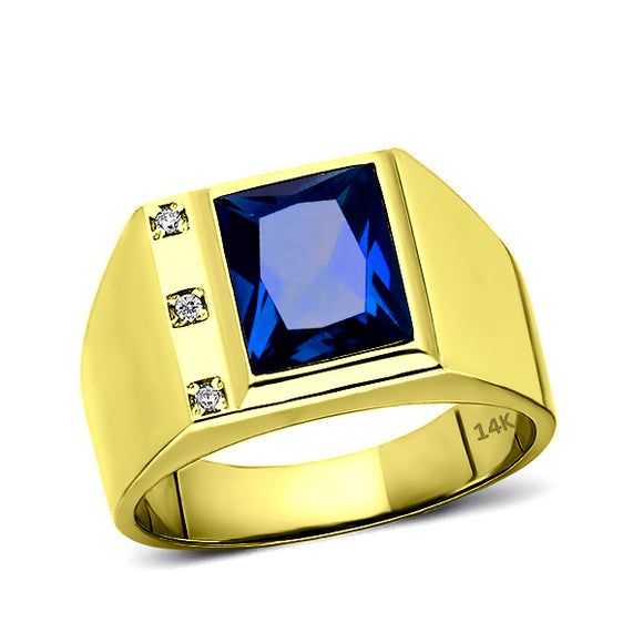 Mens Solid 14K Gold Blue Sapphire Ring 0.06ct Natural Diamonds Fine Ring for Man
