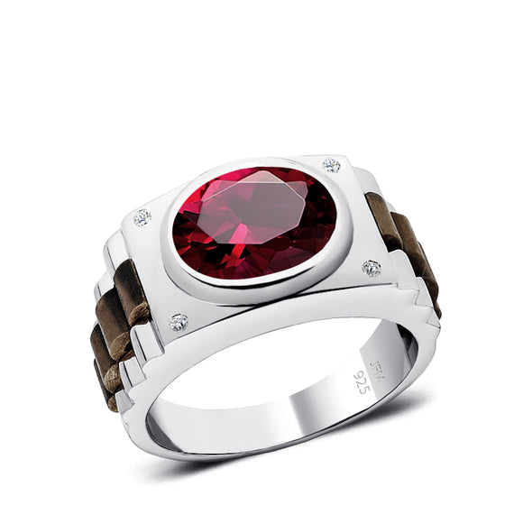 Silver Ruby Ring with 4 Natural DIAMONDS Modern Men's Engagement Ring with Gemstones