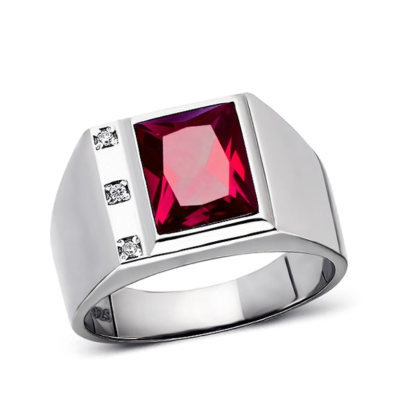 Ruby Mens Ring 3 Diamond Accents Real 925 Solid Sterling Silver Ring All Sizes