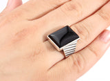 925 Sterling Silver Men's Ring with Black Onyx Statement Natural Stone Ring for Men - J  F  M