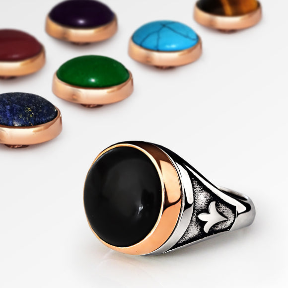 Changeable Gemstones Men's Ring in 925 Sterling Silver - J  F  M