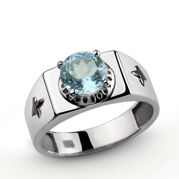 925 Sterling Silver Men's Signet Ring with Blue Topaz Gemstone - J  F  M