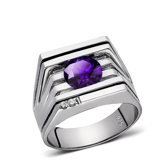 Mens Ring Purple Amethyst GEMSTONE and 2 DIAMONDS in Solid 925 Sterling Silver