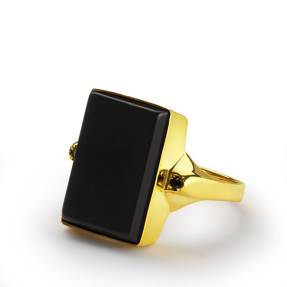 Men's Ring in 10k Yellow Gold with Black Onyx, Men's Stone Ring - J  F  M