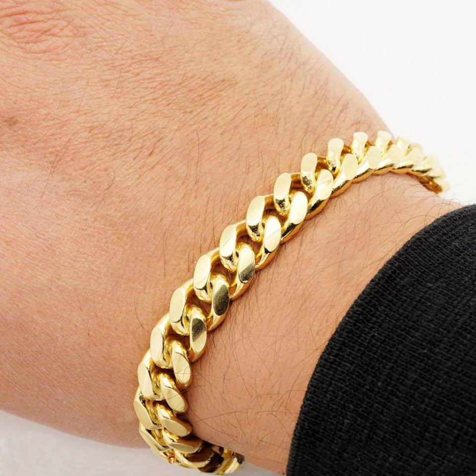 10mm Mens 18k Gold Plated Sterling Silver Heavy Cuban