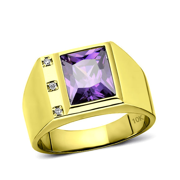 Mens Solid 10K Gold Purple Amethyst Ring 3 Natural Diamonds Fine Ring for Man