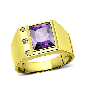 Mens Solid 18K Gold Purple Amethyst Ring 3 Natural Diamonds Fine Ring for Man
