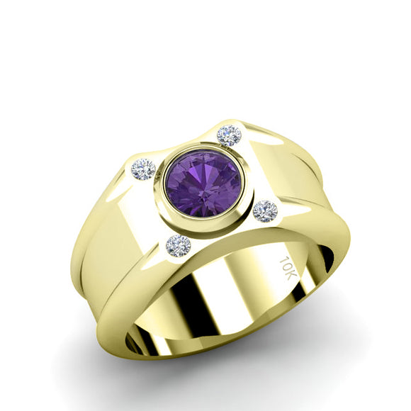 Wide Band Solitaire Ring SOLID 10K Gold with 0.12ct Diamonds and Amethyst Engagement Accessory