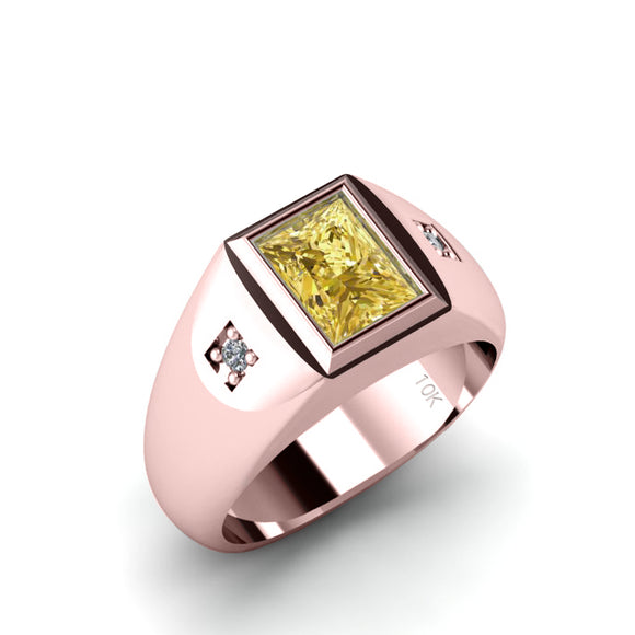 Thick Band 2.40ct Princess Cut Citrine Male Ring 10k Rose Gold with 2 Diamonds Birthday Gift for Father
