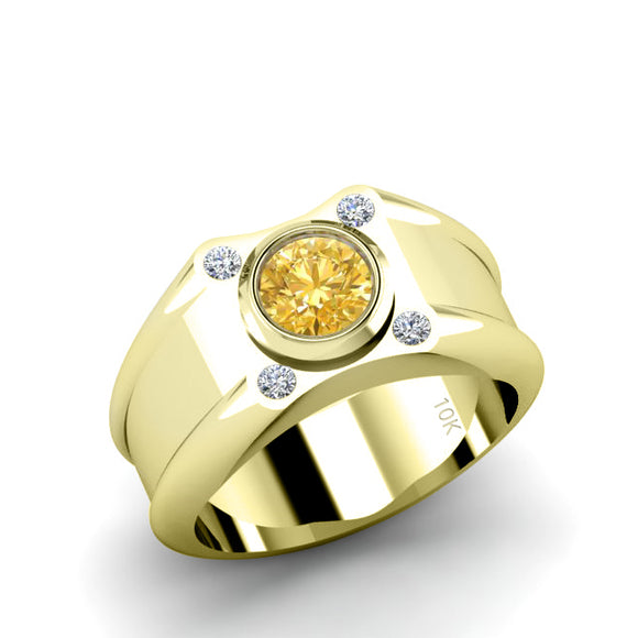 Libra Gift for Him Solid Gold Ring Round Cut Citrine with 4 Natural Diamonds Engrave Male Band