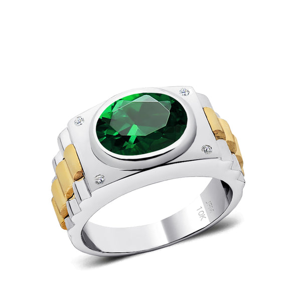 Birthstone Ring for Man Green Emerald Gemstone and DIAMONDS in 10K Gold Anniversary Gift for Husband