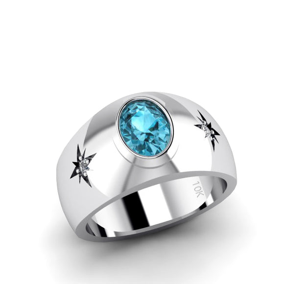 Men's White Gold Ring 0.06ct Natural Diamonds Solitaire Fine Blue Topaz Statement Male Jewelry