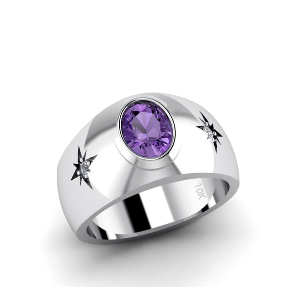 10K Solid Gold Amethyst Wedding Ring with GENUINE DIAMONDS February Birthstone Men's Jewelry
