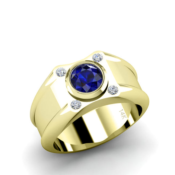 Unique Male Engagement Ring 1.70ct Round Blue Sapphire SOLID Yellow Gold with 4 Diamonds Virgo Jewelry Gift