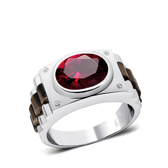 Oval Mens Solitaire Engagement Ring in 14K SOLID Gold Two Tone Band with Red Ruby and Diamonds