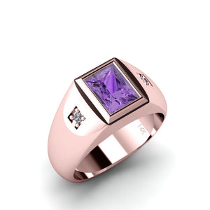 Men's Solitaire Ring 2 Diamonds and Amethyst Gemstone SOLID 14K Rose Gold Engraved Male Band