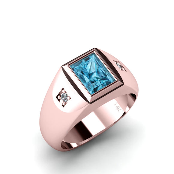 Signet Male Ring Light Blue Rectangle Topaz and Real Diamonds in 14K SOLID Gold Gem Band Ring