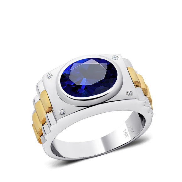 Diamond Ring for Man 14k SOLID Gold and 12x10 mm Oval Blue Sapphire Male Virgo Birthstone Jewelry
