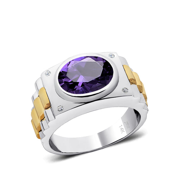 5 Stone Genuine Diamond Ring in 14K White Gold with Oval Amethyst Engraved Jewelry for Man