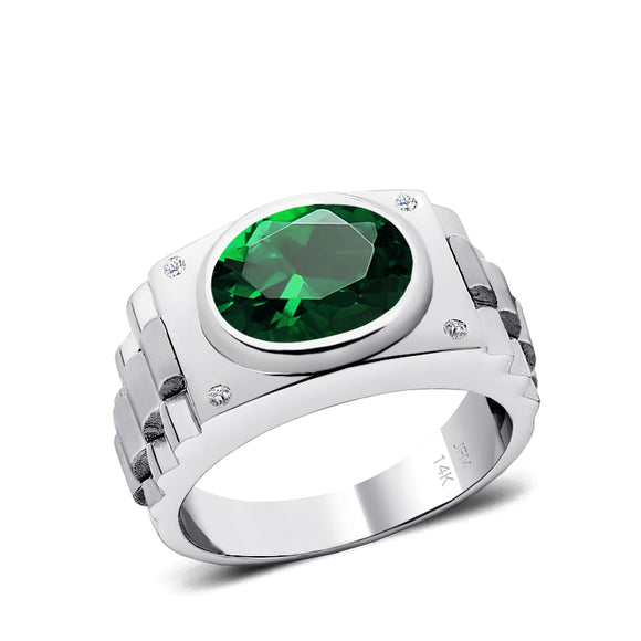 Male Diamond Ring with 4.50 ct Bezel Set Emerald Gemstone Solid Gold Men's Birthstone Jewelry