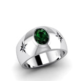 Male Emerald Ring 14K White Gold with 0.06ct Natural Diamonds Engraved Jewelry Gift for Father