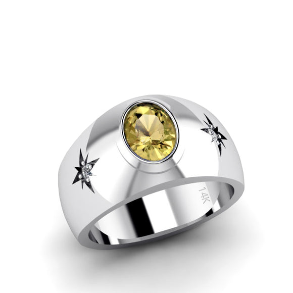 Engraved Men's Ring 14K Solid White Gold 2.40ct Citrine with Diamonds Anniversary Gift