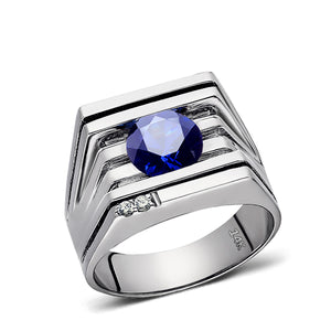 Solid 14K White GOLD Mens Ring with Sapphire and 2 DIAMOND Accents