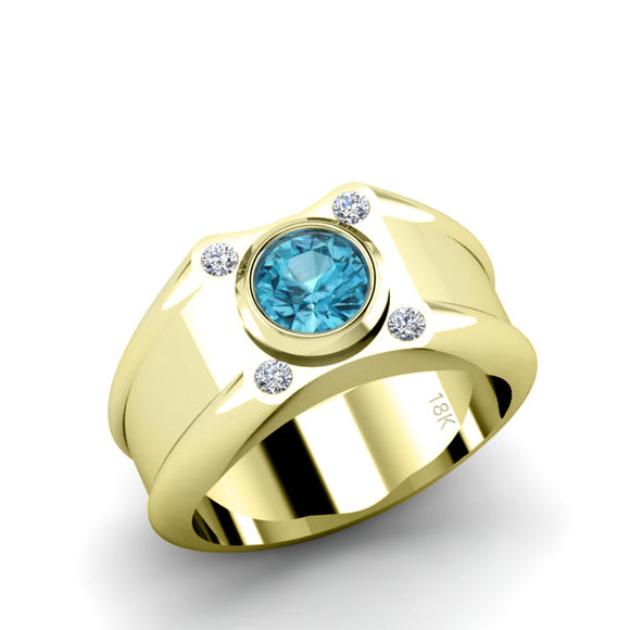Blue Stone Ring for Man in Yellow Gold Round Topaz and 4 Diamonds Wide Band Engagement Ring
