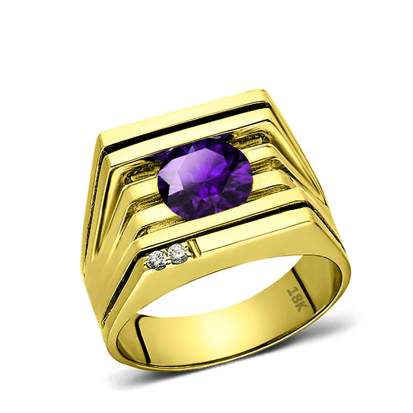 Solid 18K YELLOW GOLD Mens Ring REAL with Amethyst and GENUINE DIAMONDS all sz