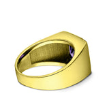3 Diamond Accents 18K Gold Plated on 925 Solid Silver Mens Purple Amethyst Ring