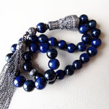 925 SILVER 33 Prayer Rare Blue Tigers Eye Beads Muslim Tasbih Misbaha Rosary