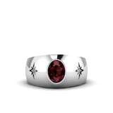 Men's Engagement Ring with 2 DIAMONDS 0.06ctw in 925 Silver Oval Red Ruby Gemstone