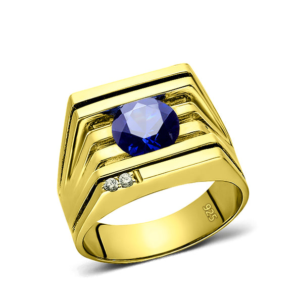 925 Real Solid Silver 18K Gold Plated Sapphire 2 Diamond Accent Ring For Men