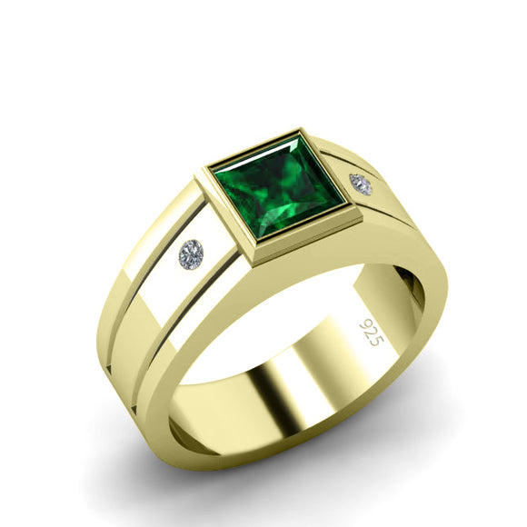 Male Gold Plated Ring 6 mm Square Emerald and 2 Natural Diamonds Classic Luxury Design