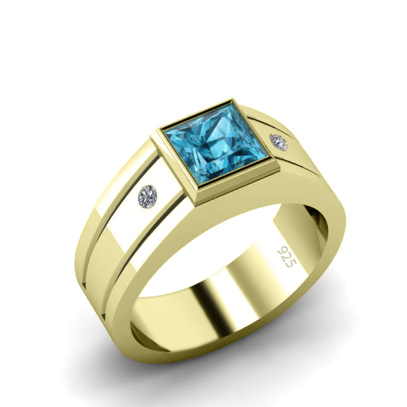 Men's 18K Real Gold Plated Ring Polished High Quality Silver with Square Topaz and Natural Diamonds