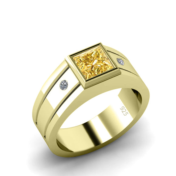 Gemstone Wedding Band Polished 18K Gold Plated with Square Citrine and Natural Diamonds Pinky Ring