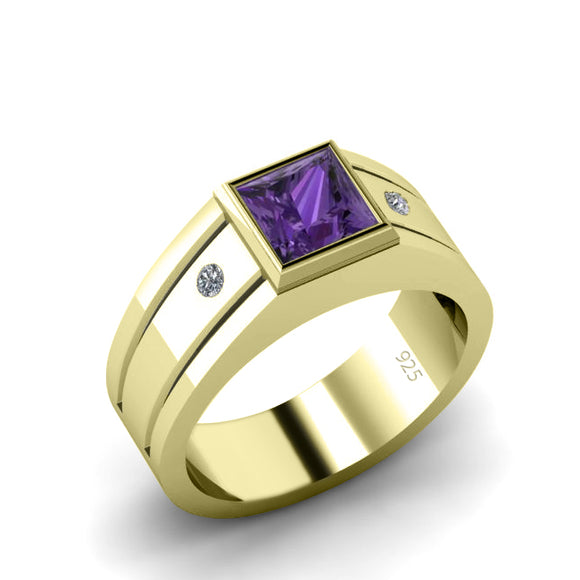 Customizable Gents Ring Yellow Gold Plated with Amethyst AAA Gemstone and Diamonds Fine Quality