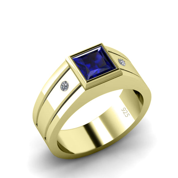 Men's Wedding Ring with Gemstone and Natural Diamonds Gold-Plated Engagement Band