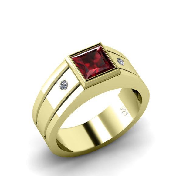 Men's Gold Plated Ruby Ring Trendy Solitaire Band with Natural Diamonds and Red Gemstone