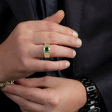 Emerald Engagement Men's Ring Solid 10K Gold with 0.12ct Real Diamonds Taurus Male Gift