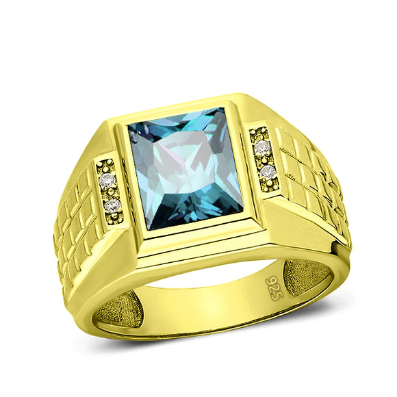 Turkish 925 Solid Silver 18K Gold Plated Mens Aquamarine 4 Diamond Accents Ring