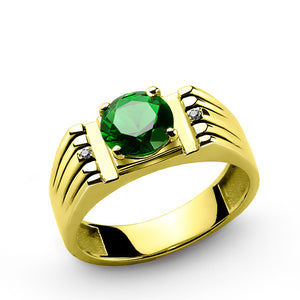 Men's Ring with Green Emerald and Natural Diamonds in 14k Yellow Gold - J  F  M