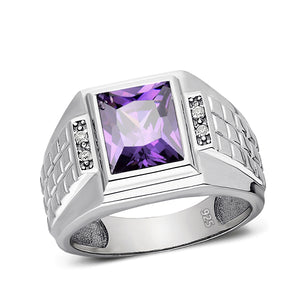Real 925 Solid Sterling Silver Mens Purple Amethyst Ring with 4 Diamonds All Sz