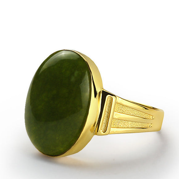 Men's Ring 14k Yellow Solid Gold with Green Agate Stone - J  F  M
