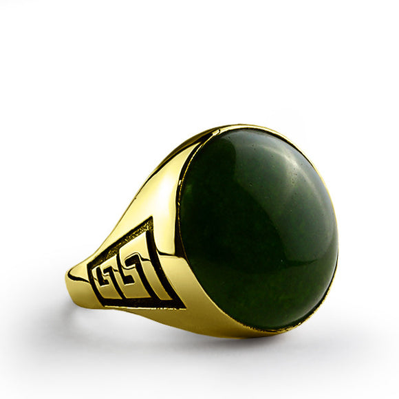 Natural Green Agate Stone Men's Ring in 10k Yellow Gold - J  F  M