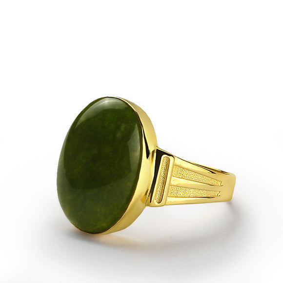 Men's Ring in 10k Yellow Gold with Green Agate Natural Stone - J  F  M