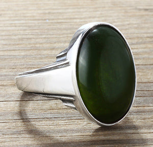 Sterling Silver Men's Ring with Natural Green Agate Gemstone - J  F  M