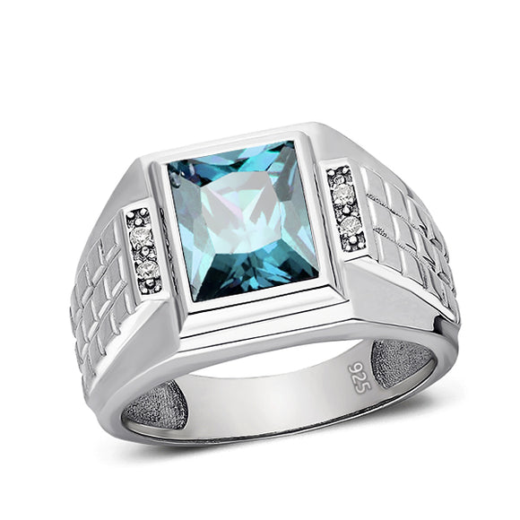 Rectangular Blue Topaz 925 Solid Sterling Silver Ring for Men with 4 Diamonds